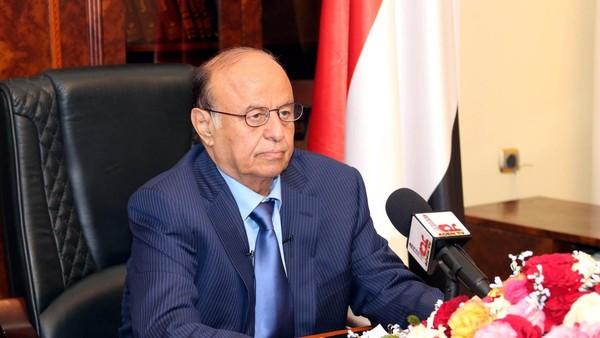 ADEN, YEMEN - MARCH 21: Yemeni President Abd Rabbuh Mansour Hadi speaks to the media in Aden,Yemen on March 21, 2015. Hadi said Saturday that he had moved to the southern city of Aden to make it a temporary capital, not to declare it an independent state. (Photo by Pool/Yemeni Presidency Press Office/Anadolu Agency/Getty Images)